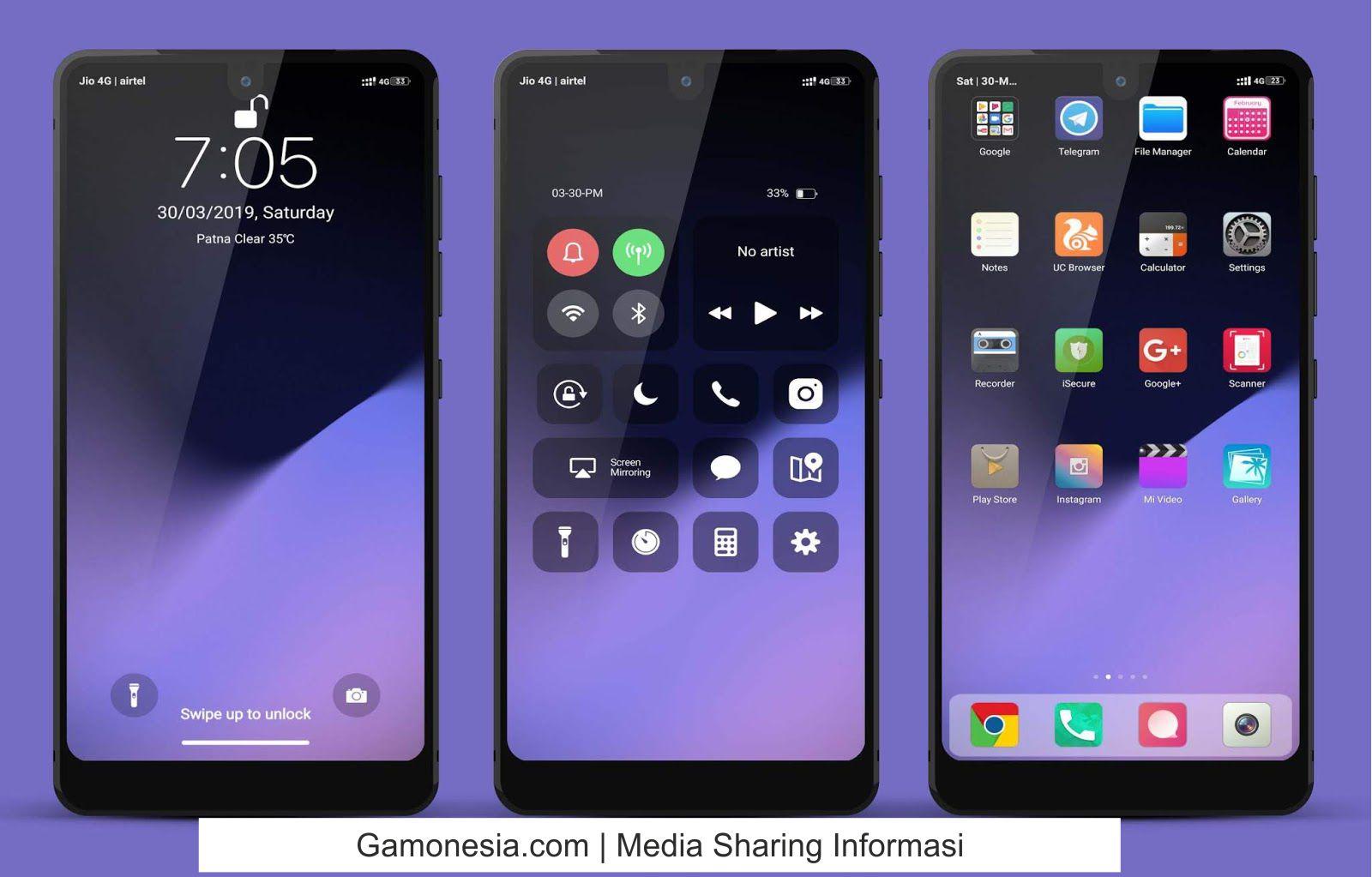tema iphone untuk xiaomi jam di tengah
