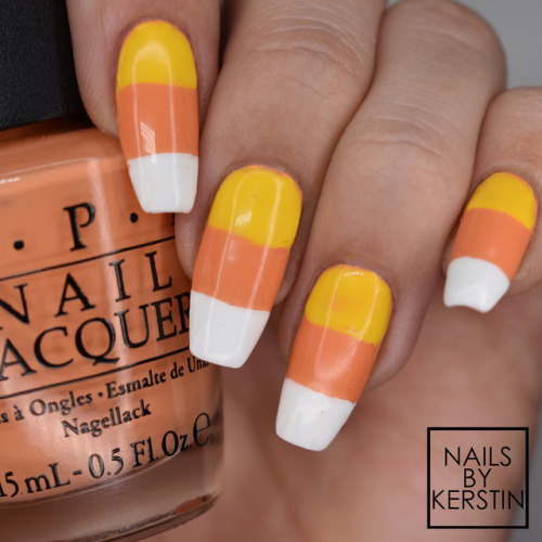 Bright Candy Corn Nail Art Tutorial
