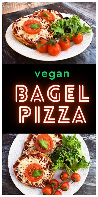 Quick vegan cheese and tomato bagel pizzas