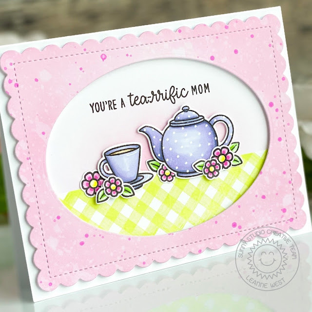 Sunny Studio Stamps: Tea-riffic Background Basics Frilly Frame Dies Stitched Oval Dies Mother's Day Card by Leanne West