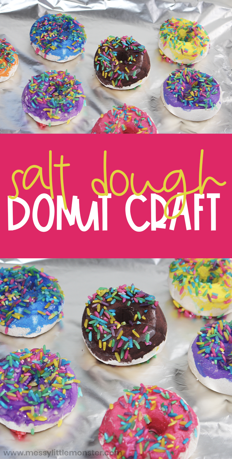 Salt dough craft for kids. Donut craft and how to set up a pretend play bakery ideas.