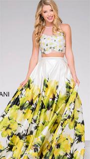 Vestido floral de dos piezas con escote ilusion de fiesta 2017