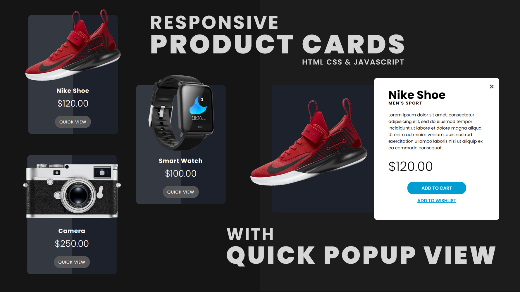 responsive product cards  with quick popup view  using