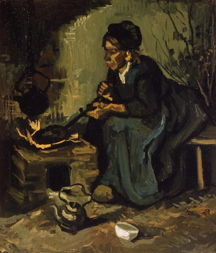 Крестьянка готовит еду у камина. Vincent van Gogh