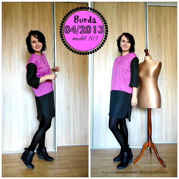 Sportowa sukienka uszyta z wykroju Burda 04/2013 model 105