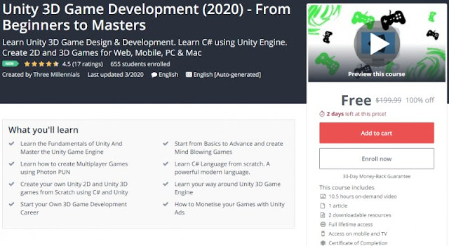 [100% Off] Unity 3D Game Development (2020) - From Beginners to Masters| Worth 199,99$