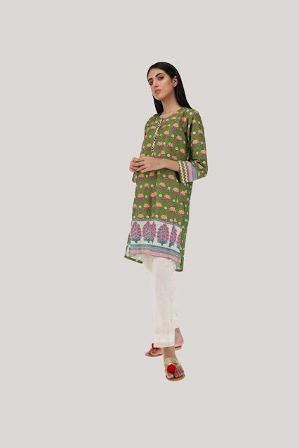Khaadi winter collection Green Colour with Printed Kurta