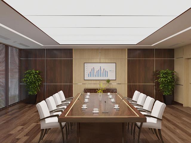 Phòng họp sang trọng, ấm cúng với tông gỗ làm chủ đạo