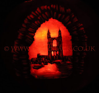 St Andrews Cathedral carved onto a pumpkin