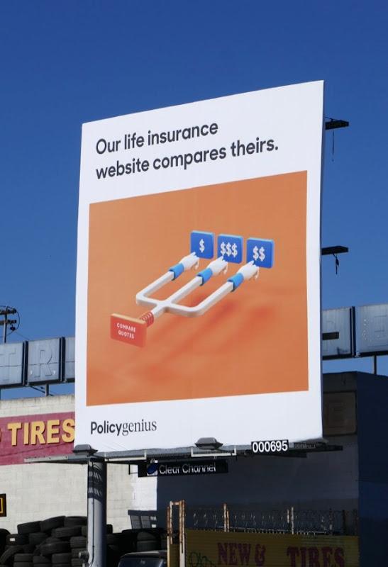 life insurance compares Policy Genius billboard