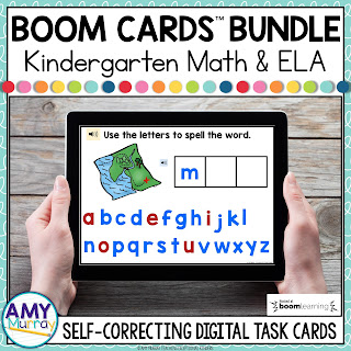 Kindergarten Math and ELA boom card bundle cover