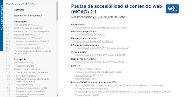 web de la W3C donde se publica las pautas WCAG2.1