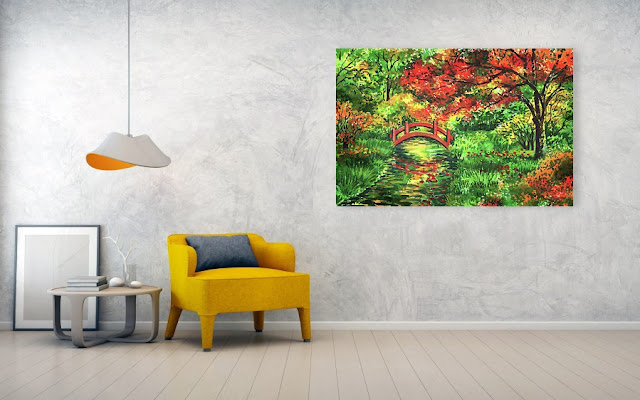 Fall painting in interior decor Japanese Garden With Red Bridge