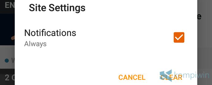 mematikan notifikasi