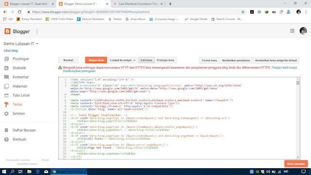 Tampilan Pengeditan Tampilan Blog Melalui HTML