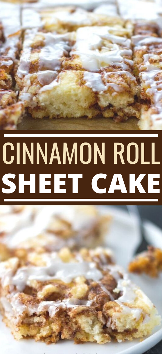 Cinnamon Roll Sheet Cake Recipe #cake #desserts #baking #recipes #easy