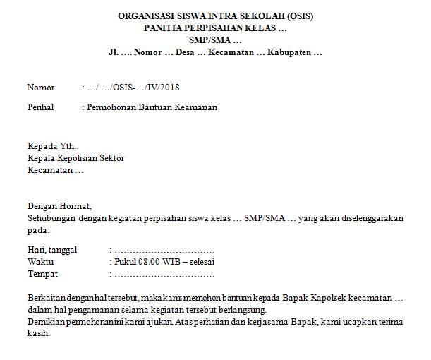 Surat Permohonan Bantuan Keamanan Perpisahan Sekolah Guru Loyal