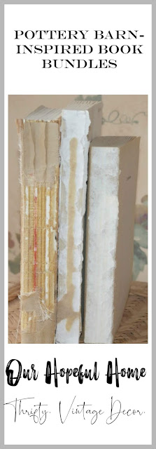 three vertical deconstructed thrifted books tied twine