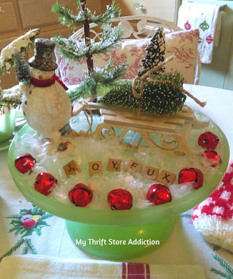 vintage French snowman tablescape