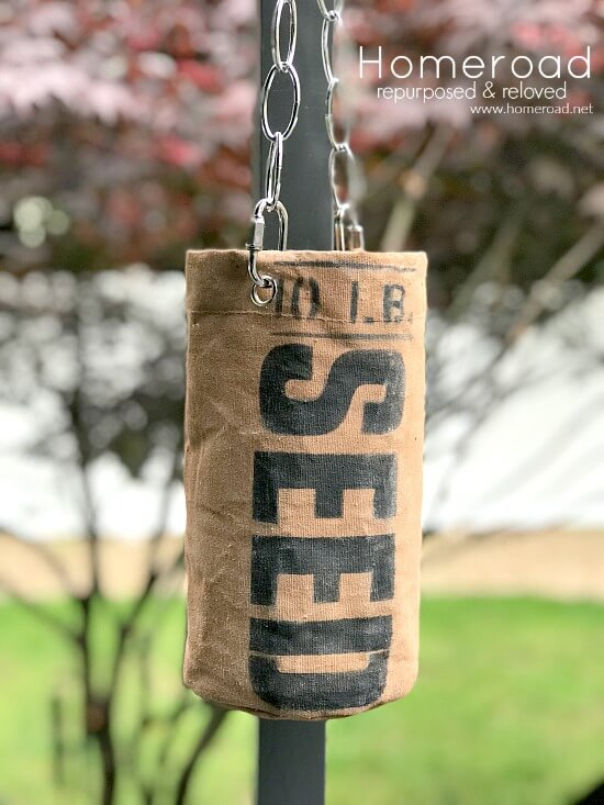 Canvas Stenciled Flower planter with chain for hanging.