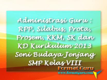 Administrasi Guru : RPP, Silabus, Prota, Prosem, KKM, SK dan KD Kurikulum 2013 Seni Budaya Jenjang SMP Kelas VIII