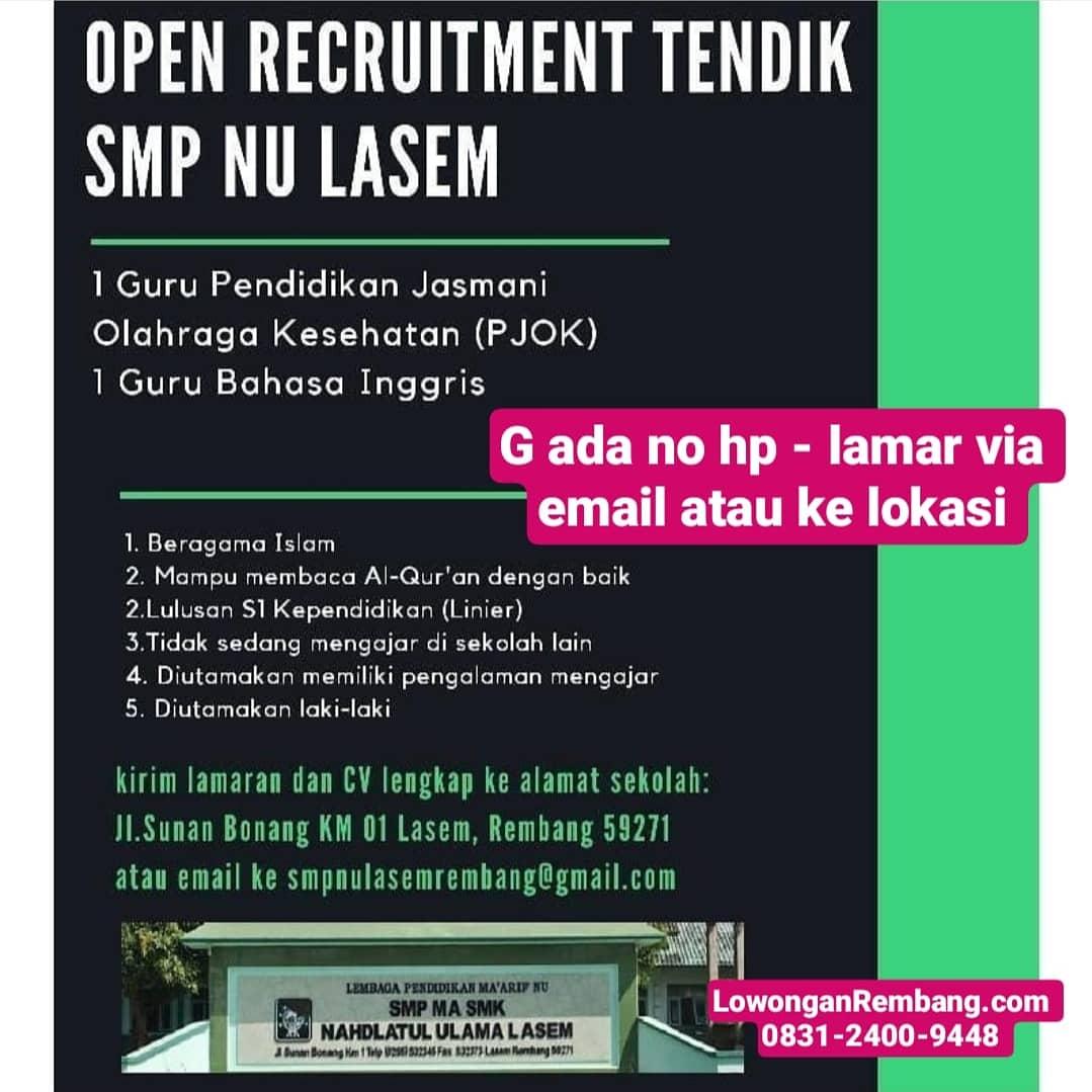 Lowongan Kerja Guru Olahraga Dan Bahasa Inggris SMP NU Lasem Rembang
