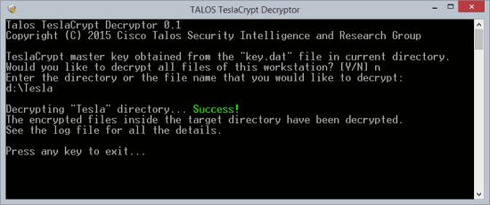 TeslaCrypt Decryption Tool