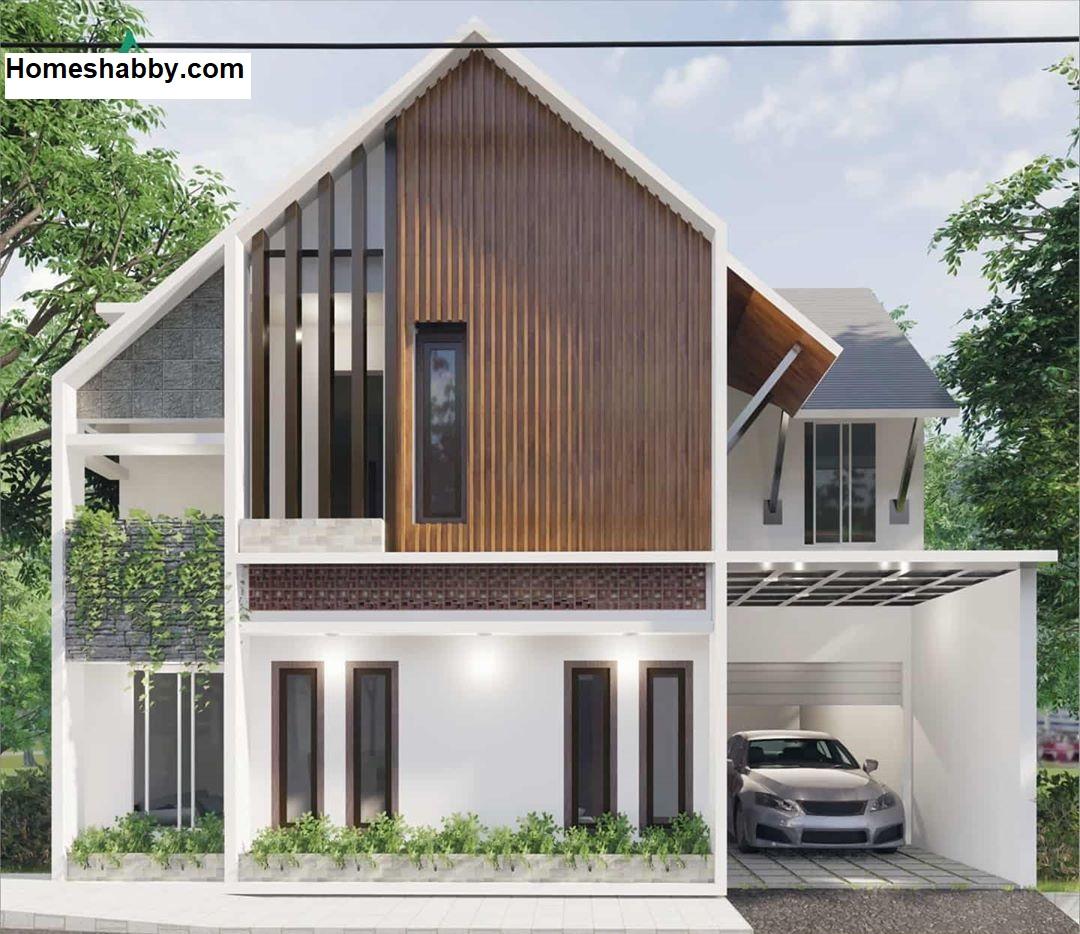 Desain Dan Denah Rumah Minimalis Ukuran 11 X 9 M 2 Lantai Dengan Konsep Scandinavian Dan Atap Miring Yang Unik Homeshabby Com Design Home Plans Home Decorating And Interior Design