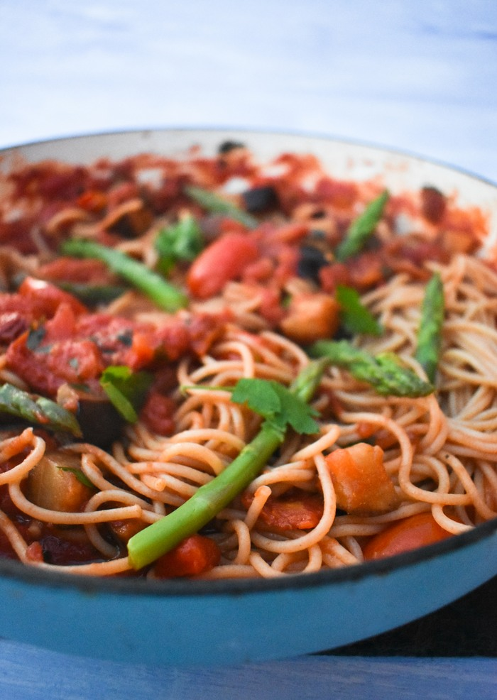 Grilled Aubergine, Asparagus & Chilli Spaghetti