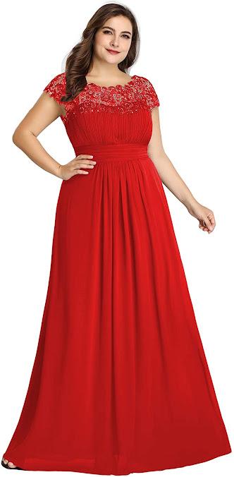 Red Plus Size Chiffon Bridesmaid Dresses