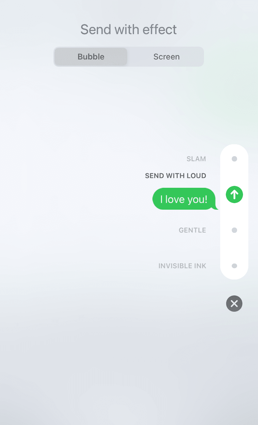 Send bubble message effects on iPhone