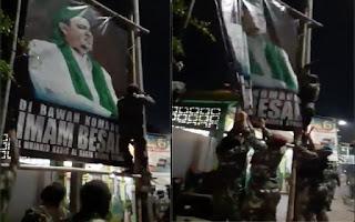 Beredar Video Orang Berseragam Loreng Copot Baliho HRS, FPI: Kami Yakin Bukan TNI