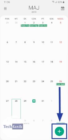 Kalendarz w telefonie Samsunga