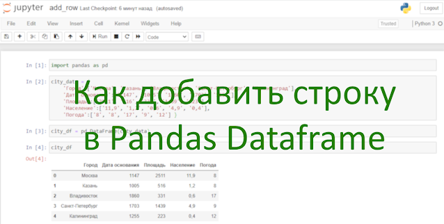 Как добавить строку в Pandas?