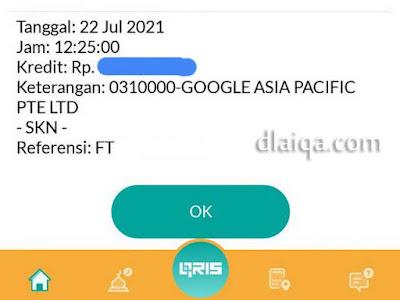 transfer dari Google telah masuk ke rekening BSI