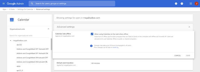 Enable offline support for Google Calendar on web from your computer