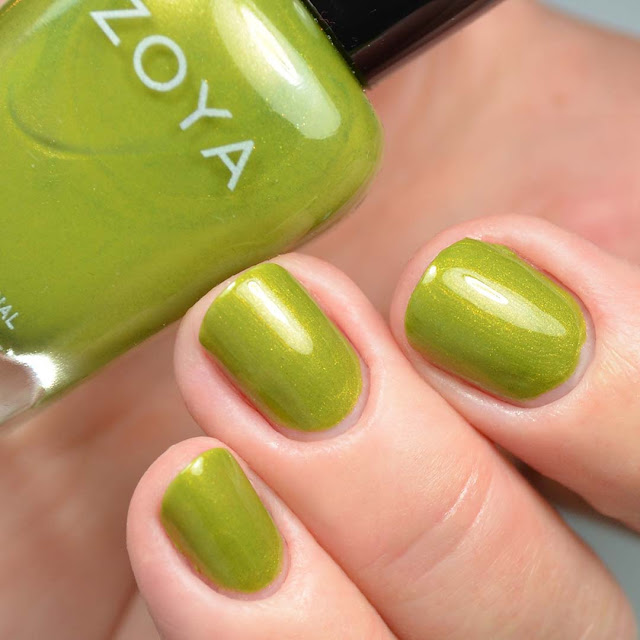 chartreuse green metallic nail polish swatch
