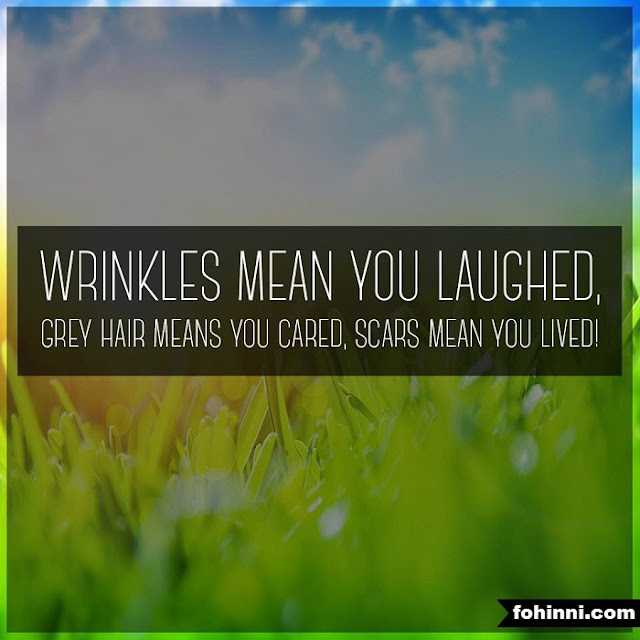 Wrinkles Mean You Laughed, Grey Hair Means You Cared, Scars Mean You Lived...