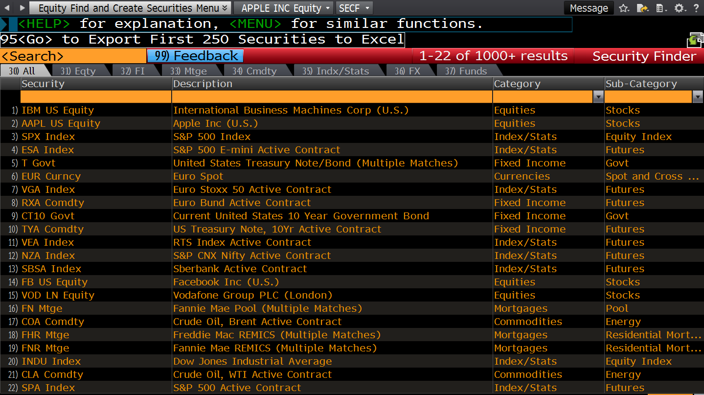 Bloomberg Guide - Security Search SECF Screen I | Singapore Quant