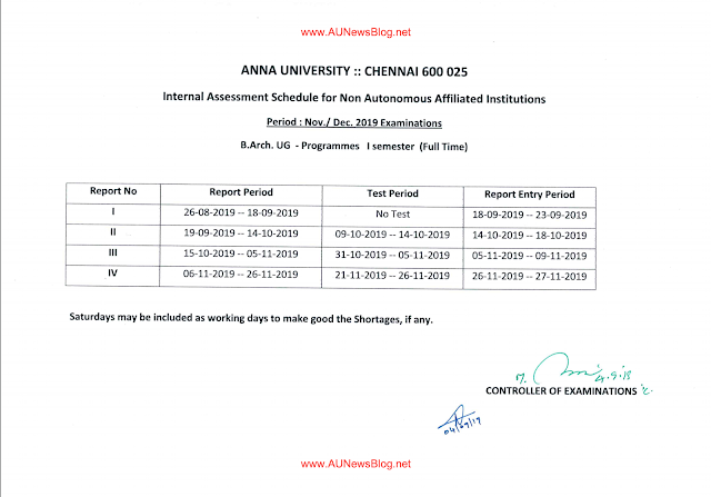 Anna University Internal Assessment Schedule for B.Arch Nov Dec 2019