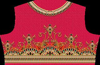 Textile Print Choli Design - Back 2460