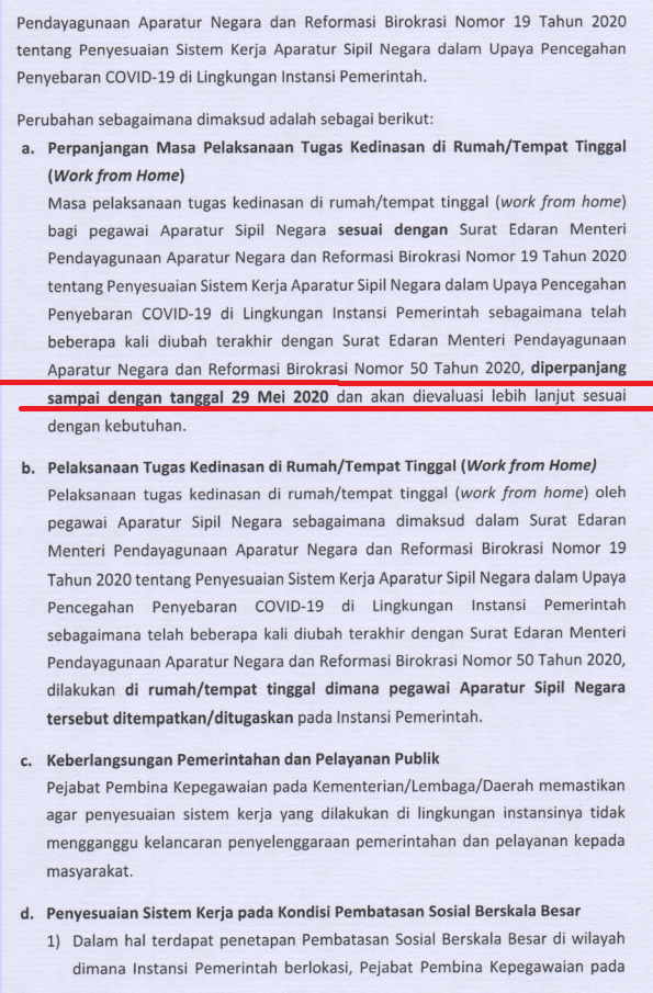 Surat Edaran Menpan RB Nomor 54 Tahun 2020 Tentang Perpanjangan WFH Hingga 29 Mei 2020
