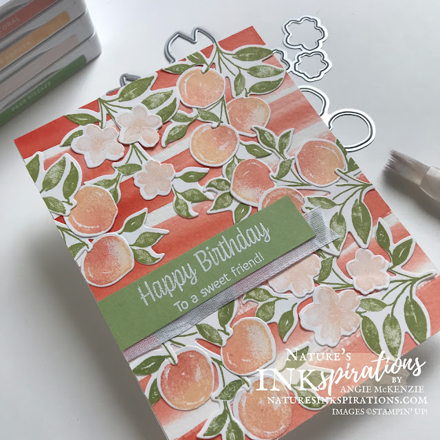 By Angie McKenzie for Ink and Inspiration Blog Hop; Click READ or VISIT to go to my blog for details! Featuring the Sweet as a Peach Buncle which is part of the You're a Peach Suite Collection in the 2021-2022 Annual Catalog by Stampin' Up!®; #sweetasapeachstampset #peachdies #sweetasapeachbundle #happybirthday #stampinupcolorcoordination #inkandinspirationbloghop #stampingtechniques #birthdaycards #peaches #caseingthecatalog #naturesinkspirations #20212022annualcatalog #bloghops #iibh #stampinup #handmadecards #watercoloring #waterpainters
