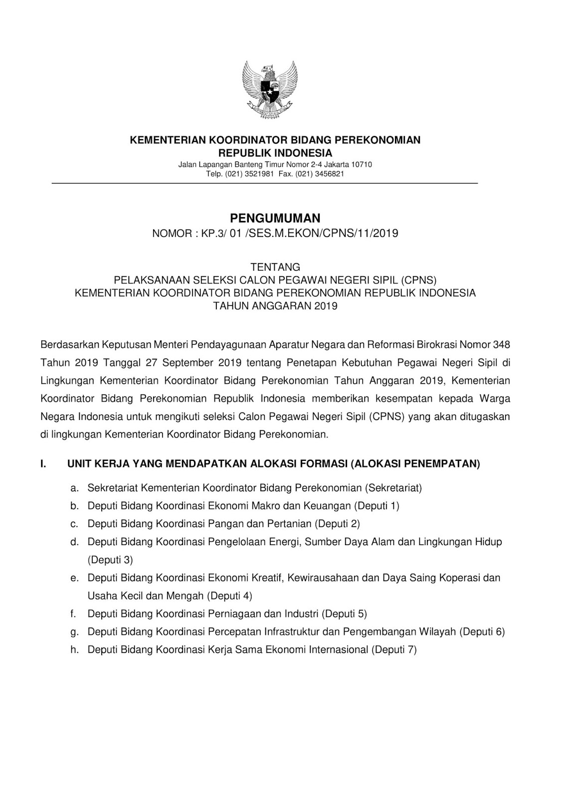 Lowongan CPNS Kementerian Koordinator Bidang Perekonomian Tahun Anggaran 2019 [67 Formasi]