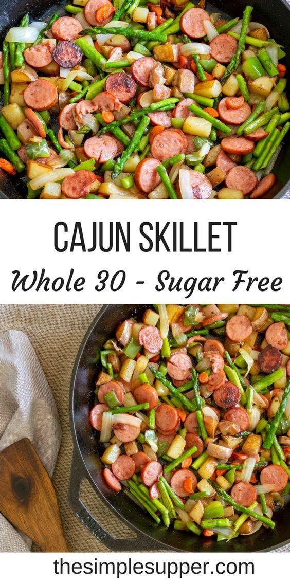 Spicy Cajun Asparagus And Sausage Skillet