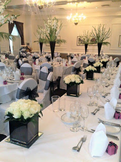 wedding reception flowers on tables