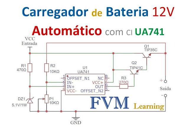 Carregador de Bateria 12V Automático com CI UA741 + PCI