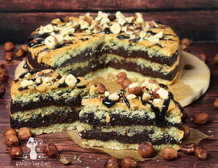 Kruchy torcik z kremem czekoladowo-laskowym (bez glutenu, laktozy, białego cukru, wegański)