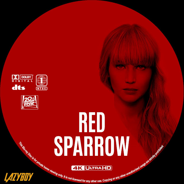 Red Sparrow 4k Bluray Label