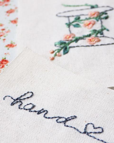 Mẫu thêu chữ viết tay đẹp bằng mũi thêu viền
